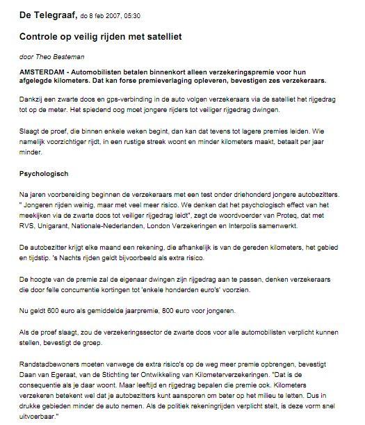 Kilometerverzekeren in De Telegraaf, 8 februari 2007